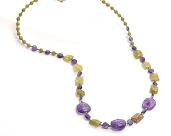 Amethyst Bead Necklace, Purple Bead Necklace, Amethyst necklace, February Birthstone Necklace, February Necklace
