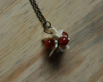 Bone and Carnelian Pendant