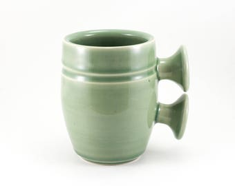Double Knob Mug  / Handmade Ceramic Mug in Green / 16 oz
