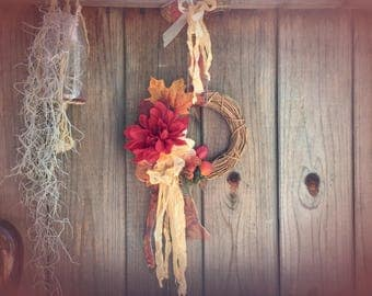 Autumn Fall Wreath Front Door Rustic Farmhouse Farm Country Thanksgiving Decor Decorations Wall Table Centerpiece Floral Flower Fruit Ribbon