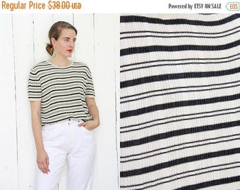 30% OFF Vintage 80s T-Shirt | 80 Silk T-Shirt Striped Black White Short Sleeves | Large L