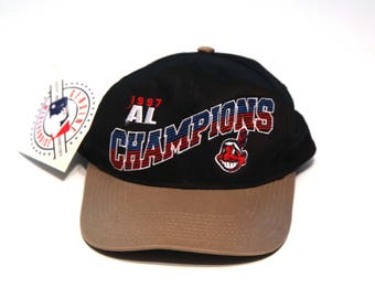 Vintage 90s Cleveland Indians hat snap back 1997 AL champions new with tag