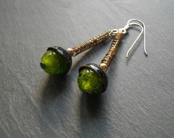 """Long earrings- """"Mixed"""" - enamel and glass bead- silver /green/black-handmade by Les z'émaux"""