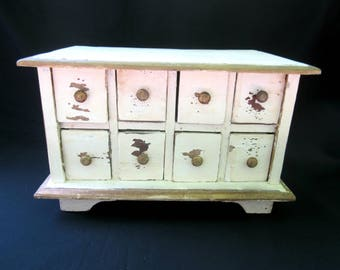 Small Wood Chest With Drawers Naturally Distressed Hand Made Solid Wood Tabletop Cabinet