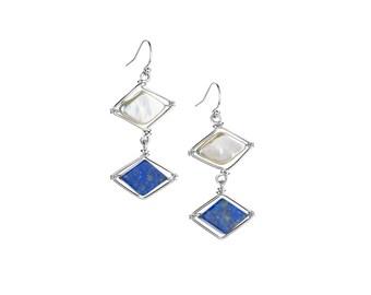 Pearl and Lapis Diamond Earrings