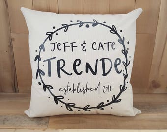 Personalized Wreath Pillow, Throw Pillows, Decorative Pillows, Wedding Pillow, Home Decor, Rustic Home Decor, Farmhouse Pillow, Shabby Chic