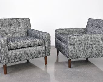 pair of edward wormley for dunbar lounge chairs midcentury modern gray club chair vintage