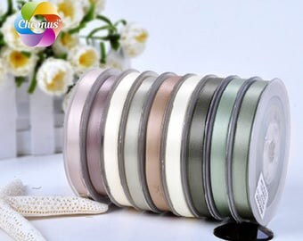 """Double faced Satin ribbon, Light brown II,  2"""", 1-1/2"""", 1"""", 7/8"""", 3/4"""",5/8"""", 3/8"""", 1/4"""""""
