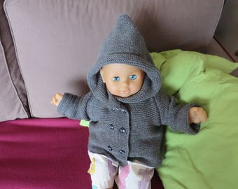 Coat - hooded vest for baby in grey (6-12 months)