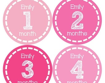 PERSONALIZED Baby Girl Month Stickers Monthly 12 Month Sticker Monthly Baby Stickers Baby Shower Gift Photo Prop Milestone Sticker 485