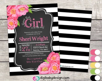 GIRL BABY SHOWER Invitation, Pink Floral Roses, Black and White Stripes, Digital Invitation