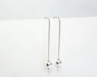 Long drop sterling Silver earrings / 925 sterling Silver / 4.5 cm Silver bead dangle / Karmasilver Handmade in the UK