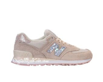 Women's New Balance 574 Shattered Pearl Made with SWAROVSKI® Crystals - Angora/Faded Rose