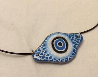 Hand-painted Evil Eye Necklace, Eyeball Necklace, Evil Eye Pendant