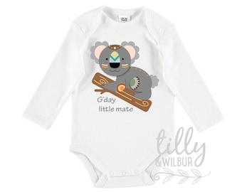 Koala Bear Baby Bodysuit, G'day Little Mate, Baby Shower, New Baby Gift, Newborn Gift, Koala Bear Gift, Australiana, Koala Baby, U-W-BS