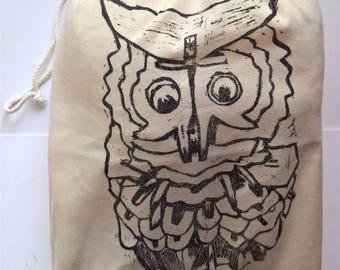 Yonko's Messenger (Black) Large Handprinted Drawstring Bag