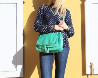 Leather Shoulder Bag / Green Shoulder Bag / Green Leather Bag / Green Leather Purse / Green Messenger / Green Bag / Green Handbag