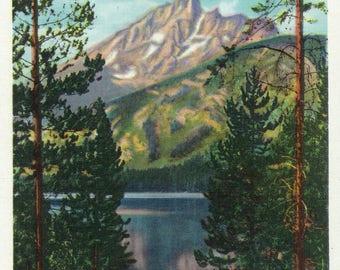Grand Teton National Park, Wyoming - Grand Teton from Jenny Lake - Vintage Halftone (Art Print - Multiple Sizes Available)