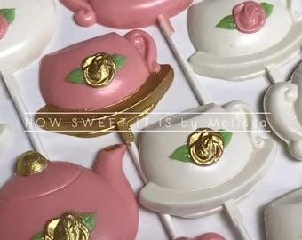 Chocolate Tea Cup and Tea Pot Lollipops (1 dozen) - Bridal Shower, Baby Shower, Tea Party