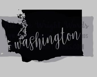 "Free Shipping  //  5.5x3.5"" Washington State Decal,  Car Decal,  Laptop Decal, Local,  WA,  PNW, Evergreen State,  Great for water bottles"