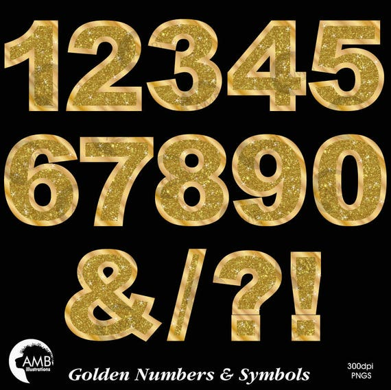 Gold Numbers Clipart Gold Glitter Numbers And Symbols Clipart