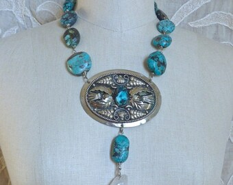 SUMMER SALE Turquoise and Quartz Medallion Necklace