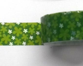 Decorative tape, masking tape 2 m about green flower pattern