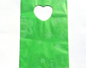 50 plastic bags green white size 13.5 patterns * 9 cm