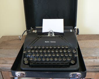 Smith Corona Sterling Typewriter, 1940's black Sterling typewriter with case, Fully functional antique typewriter
