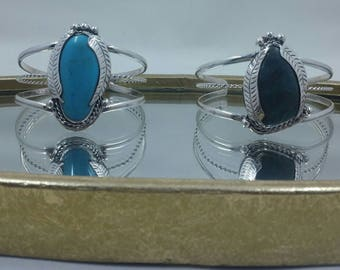 Turquoise Cuffs. Sterling Silver. Genuine Turquoise.