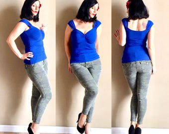 Royal Blue CHERI Pin Up Top, Multiway Capped Sleeve Shirt with Sweetheart Neckline, Casual Pinup Rockabilly Punk Mod Goth Top
