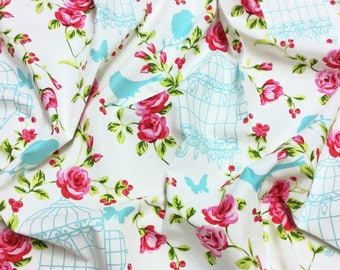 Timeless Treasures Tweet C9241 Birds in Cages & Roses on White Patchwork Quilting Fabric