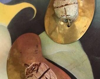 Vintage Artisan Brass Earrings