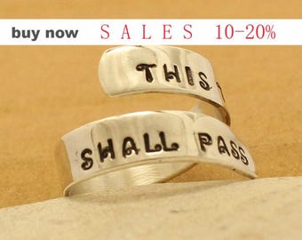 This Too Shall Pass Custom Ring  Hand Stamped Ring - Personalized - Aluminum / Sterling Silver Ring  Inspire Motivation Ring