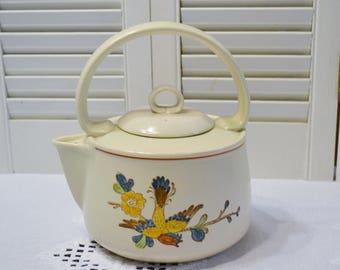 Vintage Metlox Old Cathay Teapot Vernon Ware Floral Bird Retro Kitchenware Asian Theme California Pottery PanchosPorch