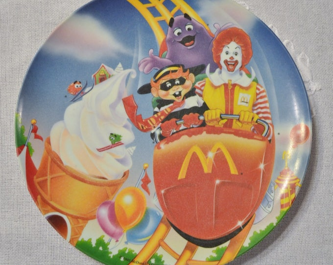 Vintage McDonalds Plate Carnival Roller Coaster 1993 Plastic Advertising Dish  Panchosporch