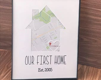 Our First Home personalized sign.
