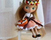 RESERVE           Custom Petite Blythe doll. 11 centimeters. OOAK handmade custom. Dollhouse. Dolls.