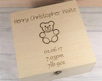 Personalised New Baby Keepsake Box - Baby Memory Box, New Baby Keepsakes, Engraved Wooden Box - Available in Medium & Large