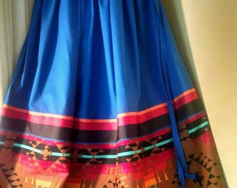 """Women's Full SKIRT  native american stomp dance ribbon skirt, fits all sizes, with adjustable waist, up to 60"""". Size fits... L - 2XL."""