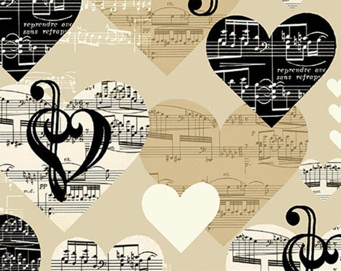 THE MUSIC in ME - I Love Music in Beige - Music Note Cotton Quilt Fabric - Kanvas Studios for Benartex Fabrics - 8454-07 (W3884)