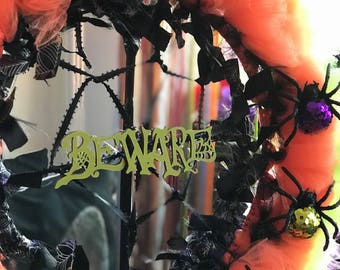 Whimsical Beware Halloween Wreath, 14 Inches // Gothic Decor, Wall Art // Orange, Black, Purple, Green // Spiders // Zombiesque Creations