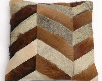 Natural Cowhide Luxurious Patchwork Hairon Cushion/pillow Cover (15''x 15'')a215