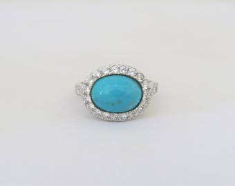 Vintage Sterling Silver Oval Turquoise & White CZ Dome Ring Size 9