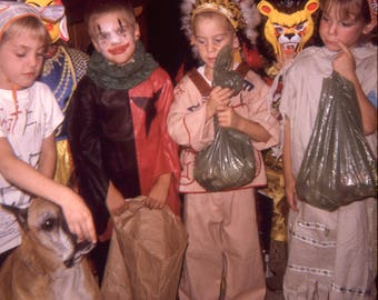 Vintage Kodachrome Photo Slide Halloween Costume Kids Rat Fink Bags Full of Candy 1960's, Original Found Photo, Vernacular Photography