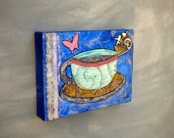 Coffee cups painting Kitchen canvas wall decor Coffee wall art Kitchen art Mixed media original Cups coffee art