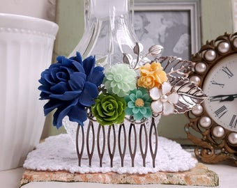 Navy blue rose Silver bridal hair comb green and yellow flowers assemblage Rustic comb Something blue wedding comb