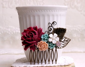 Burgundy turquoise, and beige roses Antique brass decorative comb Bridal comb Rustic hair comb Country chic Shabby chic jewelry