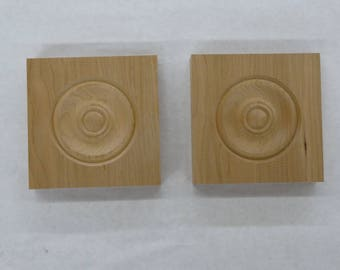 "2 Hand Made Clear Cherry Wooden Corner Blocks / Rosettes with Bullseye  4 1/2"" x 4 1/2"" x 7/8"""