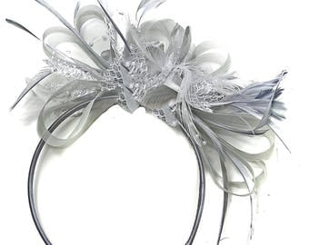 Grey Silver Fascinator on Headband AliceBand UK Wedding Ascot Races Loop